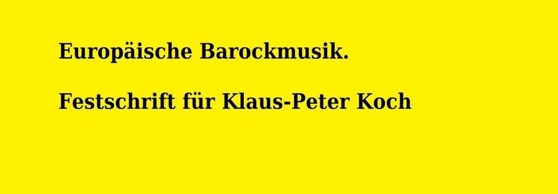 Cover Festschrift Prof. Dr. Klaus-Peter Koch